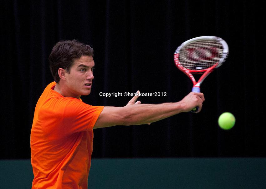 06-02-12, Netherlands,Tennis, Den Bosch, Daviscup Netherlands-Finland, Training, Jesse Huta Galung