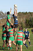 Hunter Jack reaches for the ball at a lineout during the Counties Manukau Premier Club Rugby game between Onewhero and Waiuku, played at Onewhero on Saturday May 26th 2018. Onewhero won the game 24 - 20 after leading 17 - 12 at halftime. <br /> Onewhero Silver Fern Marquees 24 -Vaughan Holdt, Filipe Pau, Sean Bagshaw tries, Rhain Strang 3 conversions, Rhain Strang penalty.<br /> Waiuku Brian James Contracting 20 - Christian Walker, Fuifatu Asomua, Aaron Yuill tries, Christian Walker conversion, Christian Walker penalty .<br /> Photo by Richard Spranger.