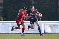 Peter Lydon of London Scottish in possession of the ball during the Greene King IPA Championship match between London Scottish Football Club and Jersey at Richmond Athletic Ground, Richmond, United Kingdom on 18 February 2017. Photo by David Horn / PRiME Media Images.