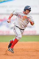 Andrew Lefave (11) of the Potomac Nationals hustles towards third base at Ernie Shore Field in Winston-Salem, NC, Saturday August 9, 2008. (Photo by Brian Westerholt / Four Seam Images)