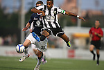 26 August 2011: Rochester's Troy Roberts defends against Harrisburg's Brian Ackley (33). The Harrisburg City Islanders defeated the Rochester Rhinos 2-1 in their USL PRO semifinal played at Sahlen's Stadium in Rochester, New York.