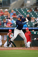 Charlotte Stone Crabs left fielder David Olmedo-Barrera (15) at bat during a game against the Palm Beach Cardinals on July 22, 2017 at Roger Dean Stadium in Palm Beach, Florida.  Charlotte defeated Palm Beach 5-2.  (Mike Janes/Four Seam Images)