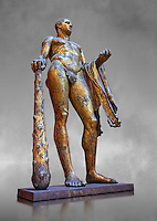 Gilded bronze 1st century AD Roman statue of Hercules found buried near Pompey's Theatre having possibly been struck by lightening and given a customary Roman burial. A Roman copy of a Hellenistic Athenian staue from around 390-370 BC, Vatican Museum Rome, Italy,  grey art background