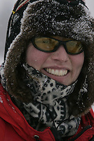 Aliy Zirkle smiles after arriving at the Nikolai checkpoint on Tuesday afternoon.