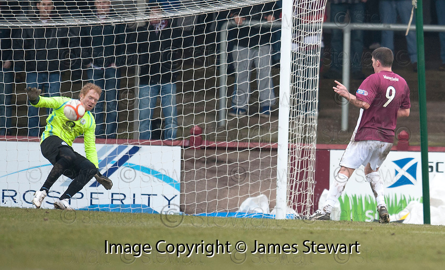 Queen of the South keeper Lee Robinson saves at close range from Arbroath's Derek Holmes.