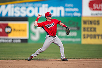 Orem Owlz second baseman Justin Jones (33) throws to first base during a Pioneer League game against the Missoula Osprey at Ogren Park Allegiance Field on August 19, 2018 in Missoula, Montana. The Missoula Osprey defeated the Orem Owlz by a score of 8-0. (Zachary Lucy/Four Seam Images)