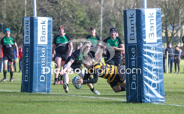 Saturday 17th February 2018 | RBAI vs Sullivan<br /> <br /> Angus Adair scores during the Ulster Schools' Cup Quarterfinal between RBAI and Sullivan at Cranmore Park, Belfast, Northern Ireland. Photo by John Dickson / DICKSONDIGITAL