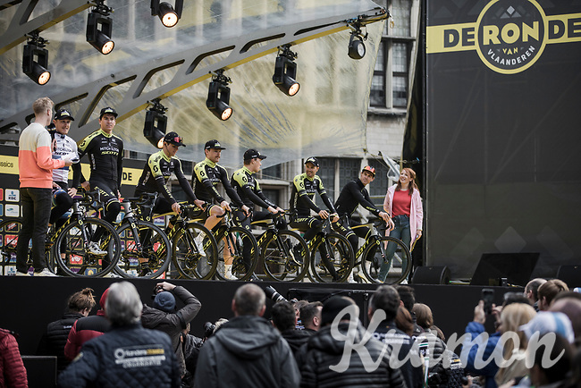 Team Mitchelton Scott awaiting pre race team presentation <br /> <br /> 103rd Ronde van Vlaanderen 2019<br /> One day race from Antwerp to Oudenaarde (BEL/270km)<br /> <br /> ©kramon