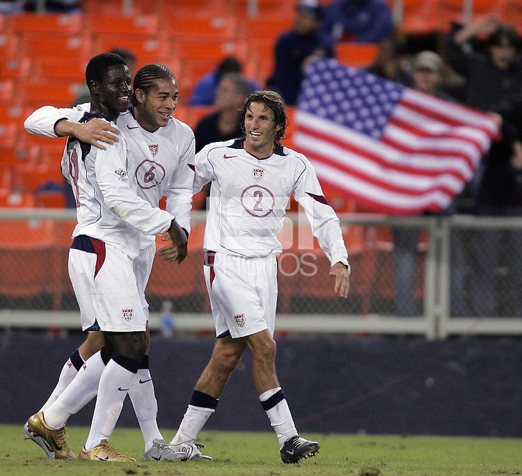 Eddie Johnson, left, Oguchi Onyewu, middle, Frankie Hejduk, right,  Panama vs USA, World Cup qualifier at RFK Stadium, 2004.
