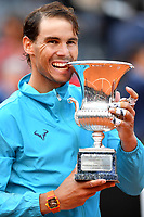 Rafael Nadal of Spain bites the trophy at the end of the final match played against Novak Djokovic of Serbia. Rafael Nadal won 6-0, 4-6, 6-1 <br /> Roma 19/05/2019 Foro Italico  <br /> Internazionali BNL D'Italia Italian Open <br /> Photo Andrea Staccioli / Insidefoto