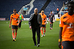 Visiting manager Jaap Stam walking off the pitch with his players after Preston North End took on Reading in an EFL Championship match at Deepdale. The home team won the match 1-0, Jordan Hughill scoring the only goal after 22nd minutes, watched by a crowd of 11,174.