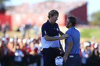 Brandt Snedeker (Team USA) and Andy Sullivan (ENG) on the 17th green during Sunday Singles matches at the Ryder Cup, Hazeltine National Golf Club, Chaska, Minnesota, USA.  02/10/2016<br /> Picture: Golffile | Fran Caffrey<br /> <br /> <br /> All photo usage must carry mandatory copyright credit (&copy; Golffile | Fran Caffrey)
