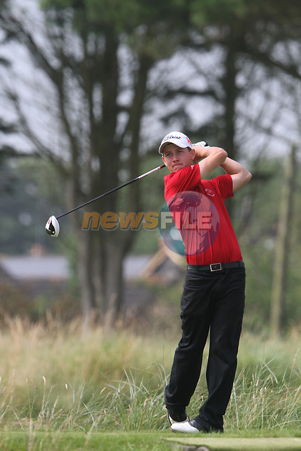 Evan Griffith (WALES) on the 4th on the Final Day at the 2012 Boys Home Internationals at Co.Louth Golf Club in Baltray, Co.Louth...(Photo credit should read Jenny Matthews/NEWSFILE)...