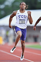 Kolby Listenbee of TCU competes in 100 meter prelims during West Preliminary Track and Field Championships, Friday, May 29, 2015 in Austin, Tex. (Mo Khursheed/TFV Media via AP Images)