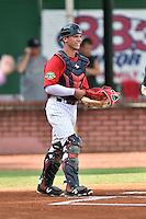Elizabethton Twins catcher Ben Rortvedt (33) behind the plate before a game against the Bristol Pirates at Joe O'Brien Field on July 30, 2016 in Elizabethton, Tennessee. The Twins defeated the Pirates 6-3. (Tony Farlow/Four Seam Images)