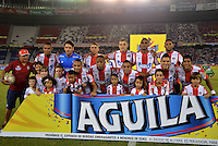 BARRANQUIILLA -COLOMBIA-15-08-2015. Jugadores de Atlético Junior posan para una foto previo al encuentro con La Equidad FC por la fecha 6 de la Liga Águila II 2015 jugado en el estadio Metropolitano Roberto Meléndez de la ciudad de Barranquilla./ Players of Atletico Junior pose to a photo prior the match against La Equidad FC for the 6th  date of the Aguila League II 2015 played at Metropolitano Roberto Melendez stadium in Barranquilla city.  Photo: VizzorImage/ Alfonso Cervantes /