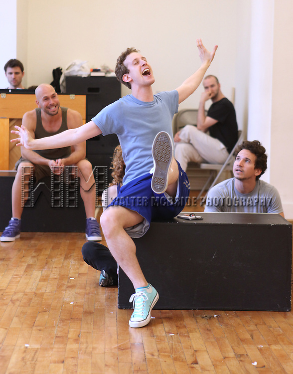 Alex Wyse with the cast from 'Triassic Parq The Musical'  during a Sneak Peek Rehearsal at the CAP21 Studios in New York City on 5/30/2012. © Walter McBride/WM Photography / Retna Ltd.