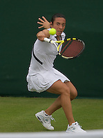 Francesca Schiavone (ITA) against Alexandra Wozniak (CAN) (23) in the frst round of the Ladies SIngles. Schiavone beat Wozniak 5-6 6-4 6-4..Tennis - Wimbledon - Day 9 - Wed 1st July 2009 - All England Lawn Tennis Club  - Wimbledon - London - United Kingdom..Frey Images, Barry House, 20-22 Worple Road, London, SW19 4DH.Tel - +44 20 8947 0100.Cell - +44 7843 383 012