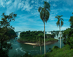 The Isla San Martin or San Martin Island sits between the Devil's Throat on the left and the other Argentine falls such as San Martin and Mbigua Falls on the right.  Iguazu National Park in Argentina and Brazil.  Both parks are UNESCO World Heritage Sites.