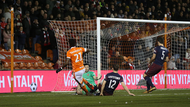 Arsenal's Petr Cech saves from Blackpool's Armand Gnanduillet<br /> <br /> Photographer Stephen White/CameraSport<br /> <br /> Emirates FA Cup Third Round - Blackpool v Arsenal - Saturday 5th January 2019 - Bloomfield Road - Blackpool<br />  <br /> World Copyright &copy; 2019 CameraSport. All rights reserved. 43 Linden Ave. Countesthorpe. Leicester. England. LE8 5PG - Tel: +44 (0) 116 277 4147 - admin@camerasport.com - www.camerasport.com