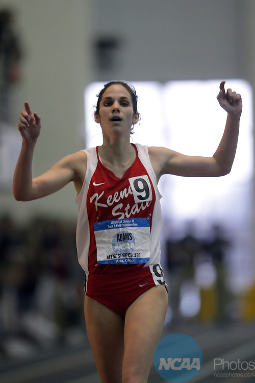 15 MAR 2008: Jennifer Adams of Keene State College crosses the finish line to win the 5000 meter run during the Division III Men's and Women's Indoor Track and Field Championships held at ONU Sports Center on the Ohio Northern University campus in Ada, Ohio. Adams won the 5000 meter run with a time of 16:58.71. Jay LaPrete/NCAA Photos