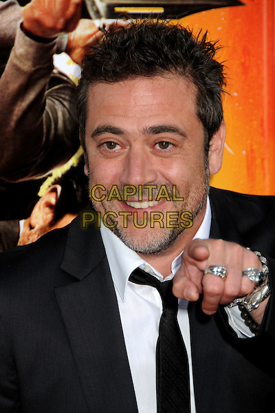 "JEFFREY DEAN MORGAN .""The Losers"" Los Angeles Premiere held at Grauman's Chinese Theatre, Hollywood, California, USA, .20th April 2010..portrait headshot finger smiling pointing gesture funny beard facial hair black suit tie white shirt hand rings .CAP/ADM/BP.©Byron Purvis/AdMedia/Capital Pictures."