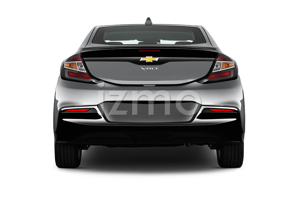 Straight rear view of 2016 Chevrolet Volt LT 5 Door Hatchback Rear View  stock images