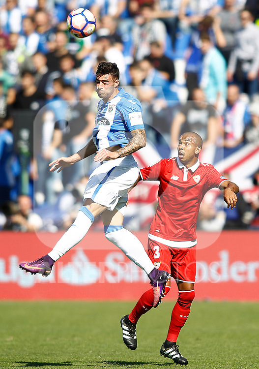 CD Leganes' Diego Rico (l) and Sevilla FC's Mariano Ferreira during La Liga match. October 15,2016. (ALTERPHOTOS/Acero)