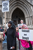 StopHDV protest outisde the High Court, London, at the start of a judicial review of the Haringey Development Vehicle, the council's plan to hand over its housing estates to property developer Lendlease.