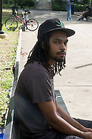 Jordan Welsh, of Mount Airy, Pennsylvania, 23, seen here in Vernon Park in East Germantown, Philadelphia, Pennsylvania, on Tues., July 26, 2016. Welsh was in the park playing Pokemon Go with a friend.