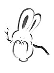 Cute happy bunny rabbit swinging on a branch, artistic illustration based on an original sumi-e painting artwork, minimalistic design black isolated on white background