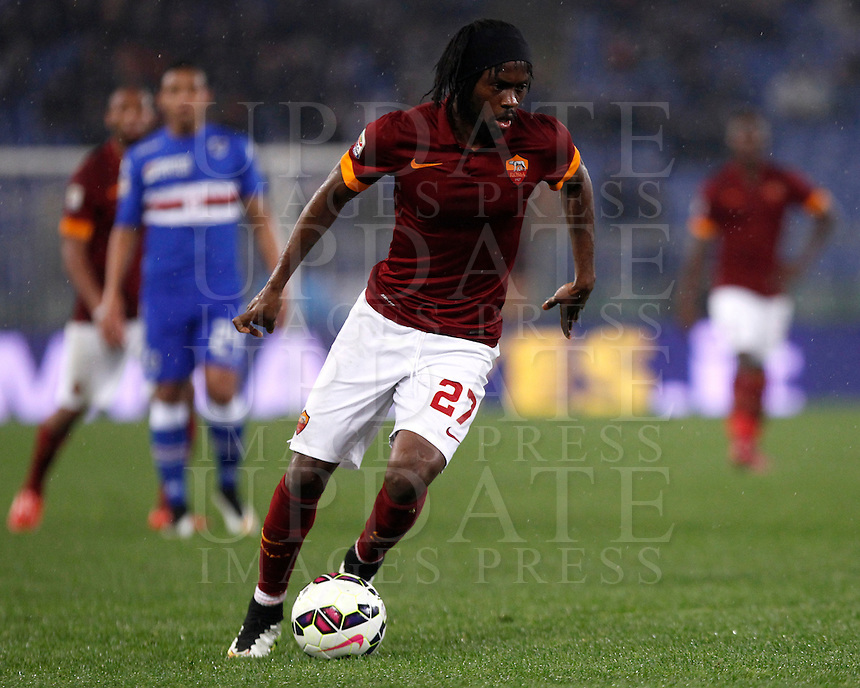 Calcio, Serie A: Roma vs Sampdoria. Roma, stadio Olimpico, 16 marzo 2015. <br /> Roma&rsquo;s Gervinho in action during the Italian Serie A football match between Roma and Sampdoria at Rome's Olympic stadium, 16 March 2015.<br /> UPDATE IMAGES PRESS/Isabella Bonotto