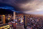 Colombia, Bogota, Downtown, High Rise Office Buildings,  High Plateau Surrounded By The Andes.Mountains, Sunset, Storm Clouds, South America