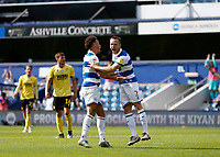 18th July 2020; The Kiyan Prince Foundation Stadium, London, England; English Championship Football, Queen Park Rangers versus Millwall; Todd Kane of Queens Park Rangers celebrates after scoring his sides 4th goal in the 73rd minute to make it 4-2 with Luke Amos of Queens Park Rangers