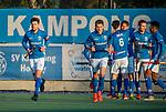 UTRECHT - Kampong heeft gescoord, vlnr Terrance Pieters (Kampong), Boet Phijffer (Kampong) , Derck de Vilder (Kampong) , Jonas de Geus (Kampong) , Bjorn Kellerman (Kampong) ,Robbert Kemperman (Kampong)  tijdens de hoofdklasse hockeywedstrijd mannen, Kampong-Amsterdam (4-3).  COPYRIGHT KOEN SUYK