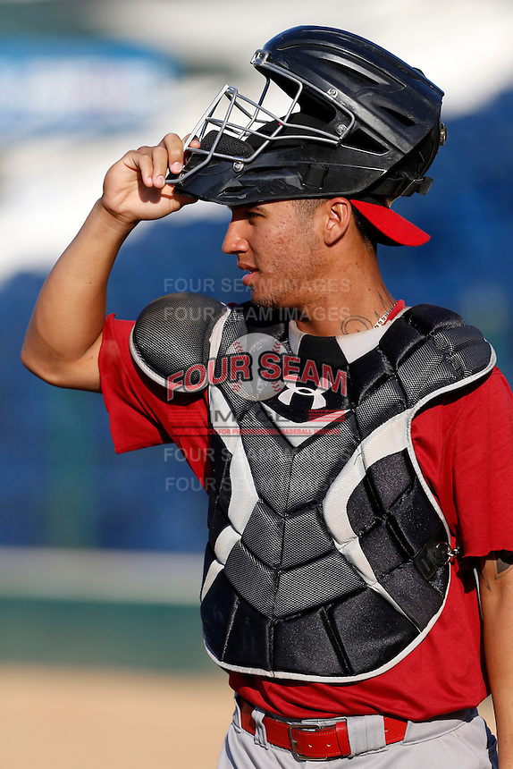 Michael Perez #23 of the Visalia Rawhide before a game against the Rancho Cucamonga Quakes at LoanMart Field on May 25, 2013 in Rancho Cucamonga, California. Rancho Cucamonga defeated Visalia, 11-1. (Larry Goren/Four Seam Images)