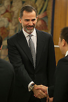 King Felipe VI of Spain during a Royal Audience at Zarzuela Palace in Madrid, Spain. January 29, 2015. (ALTERPHOTOS/Victor Blanco) /nortephoto.com<br /> nortephoto.com