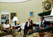 United States President Barack Obama meets with King Willem-Alexander (C) and the Queen Maxima (L) of the Netherlands in the Oval Office of the White House in Washington, D.C. on June 1, 2015. <br /> Credit: Aude Guerrucci / Pool via CNP