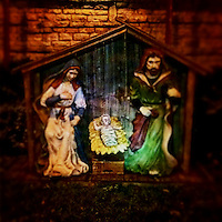 Outdoor Nativity set in front of church in Westerville, OH.