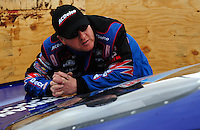 Apr. 3, 2009; Las Vegas, NV, USA: NHRA pro stock driver Kurt Johnson during qualifying for the Summitracing.com Nationals at The Strip in Las Vegas. Mandatory Credit: Mark J. Rebilas-