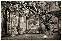 Black/white infrared of Sheldon Church ruins near Charleston, SC