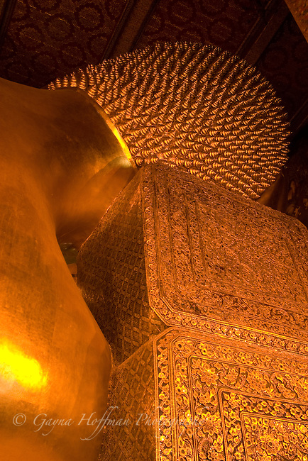 Back of head of Reclining Buddha. Bangkok