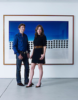 Trevor and Alexis Traina in the gallery of their San Francisco home