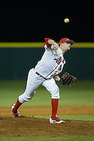 Belmont Abbey Crusaders relief pitcher Ross Garrett (19) in action against the Catawba Indians at Abbey Yard on February 7, 2017 in Belmont, North Carolina.  The Crusaders defeated the Indians 12-9.  (Brian Westerholt/Four Seam Images)