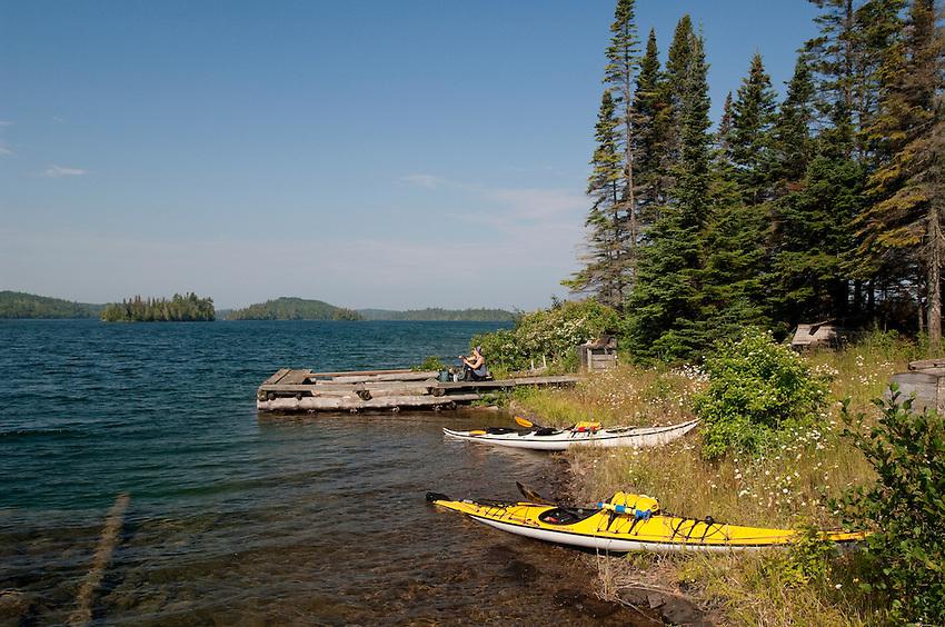 Kayaks beached at an old fishing camp at Isle Royale National Park.