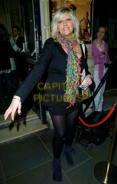"CAMILLE CUOURI .The ""Treats"" press night, Garrick Theatre, London, UK..March 8th, 2007.full length black dress scarf colourful colorful .CAP/CAN.©Can Nguyen/Capital Pictures"
