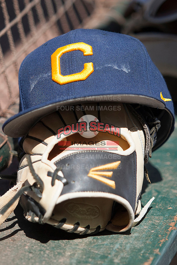 California Golden Bears hat before the NCAA baseball game on March 2nd, 2013 at Minute Maid Park in Houston, Texas. North Carolina defeated Cal 11-5. (Andrew Woolley/Four Seam Images).