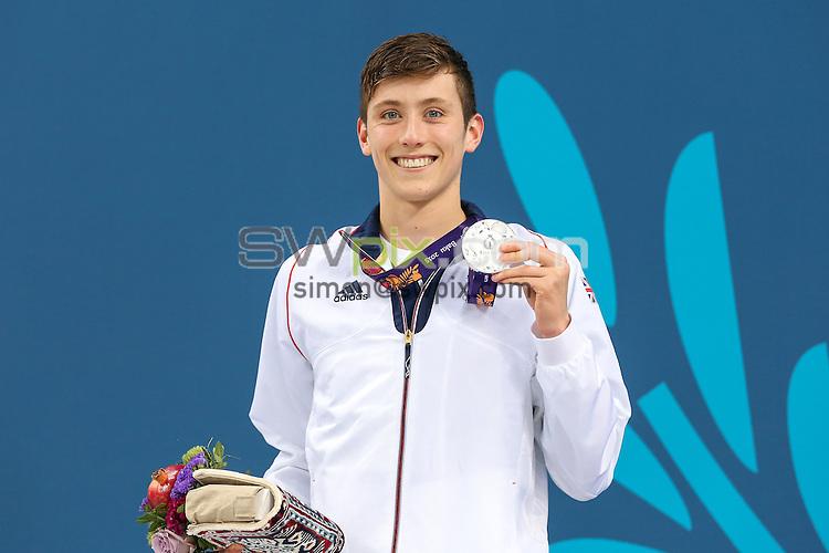Picture by Alex Whitehead/SWpix.com - 27/06/2015 - Baku 2015, 1st European Games - Swimming - Baku Aquatics Centre, Baku, Azerbaijan - Great Britain's Cameron Kurle celebrates winning Silver in the Men's 200m Freestyle Final.