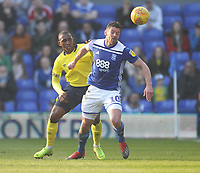 Blackburn Rovers Amari'i Bell in action with Birmingham City's Lukas Jutkiewicz<br /> <br /> Photographer Mick Walker/CameraSport<br /> <br /> The EFL Sky Bet Championship - Birmingham City v Blackburn Rovers - Saturday 23rd February 2019 - St Andrew's - Birmingham<br /> <br /> World Copyright © 2019 CameraSport. All rights reserved. 43 Linden Ave. Countesthorpe. Leicester. England. LE8 5PG - Tel: +44 (0) 116 277 4147 - admin@camerasport.com - www.camerasport.com