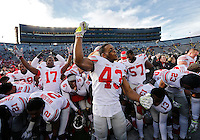 Ohio State Buckeyes linebacker Darron Lee (43) pumps his fist after singing Carmen Ohio following the 42-13 win over Michigan in the NCAA football game at Michigan Stadium in Ann Arbor on Nov. 28, 2015. (Adam Cairns / The Columbus Dispatch)